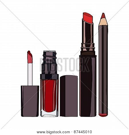 Cosmetics for Lips - lipstick, pencil, lip gloss