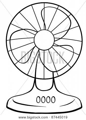 Close up electric fan with buttons