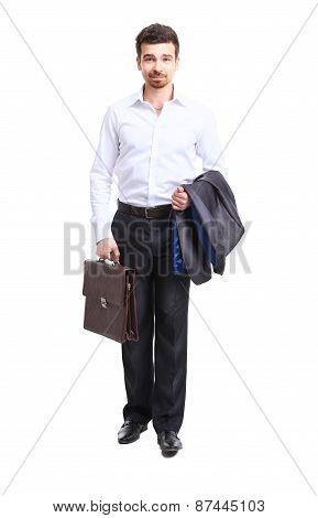 businessman walking with case, isolated on white. Concept of leadership and success