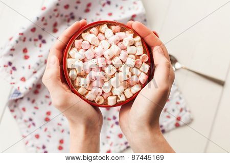 Hands Holding Hot Chocolate With Marshmallows In Cup