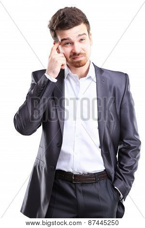 Young frustrated and stressed businessman, isolated on white background
