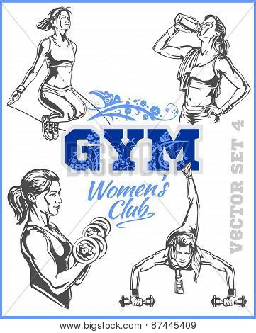 Womens Fitness GYM - vector