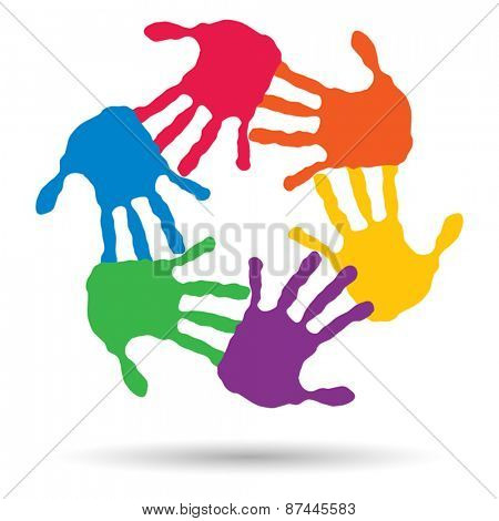 Vector concept or conceptual circle or spiral set made of colorful hands