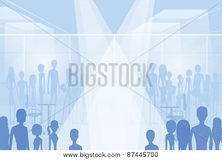 businesspeople silhouettes in office with copy space, group of business people crowd