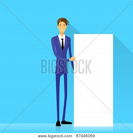 businessman with white board, signboard, showing Copy space
