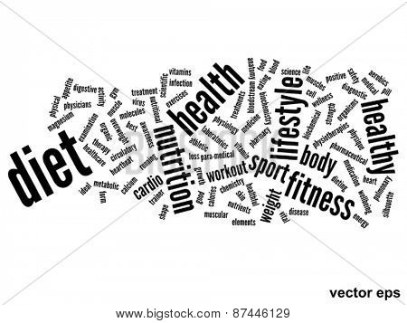 Vector concept or conceptual abstract diet and health word cloud or word cloud on white background
