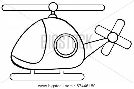 Close up helicopter in simple design