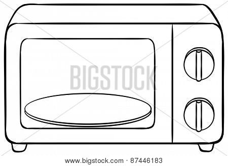 Close up microwave oven with tray