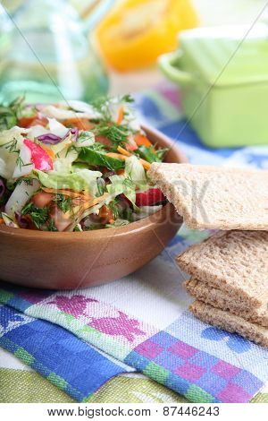 Vegetable Salad In A Wooden Bowl