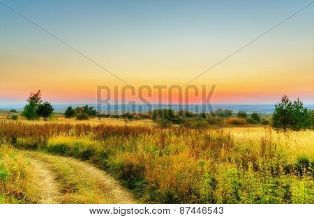 Landscape, Evening Sky And Sunset