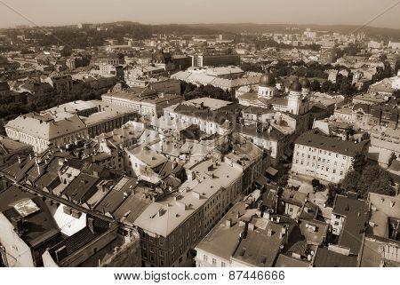 Panorama of the city. Lviv, Ukraine. top view