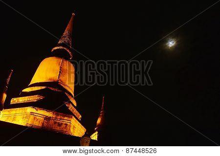 Full moon on cloudy night