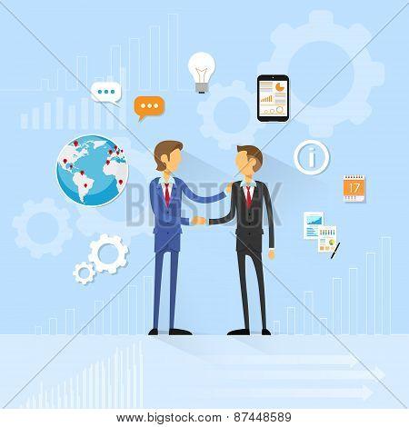 Business people handshake, businessmen hand shake flat