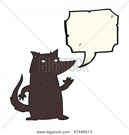 cartoon wolf waving with speech bubble