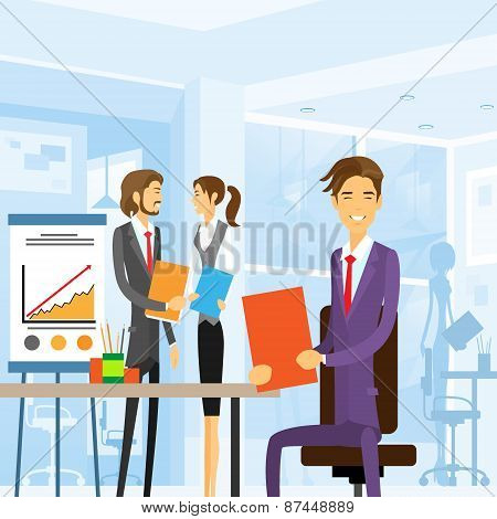 business people working sitting at office workplace