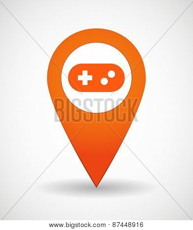 Map Mark Icon With A Game Pad