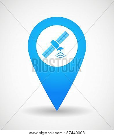 Map Mark Icon With A Satellite