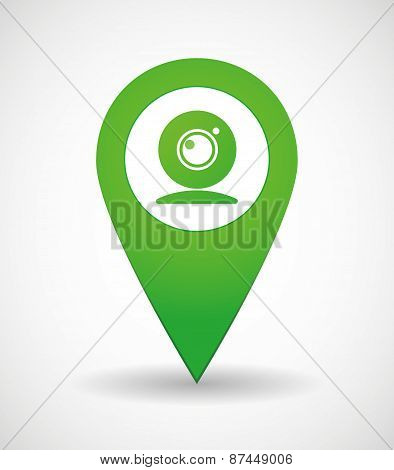 Map Mark Icon With A Web Camera