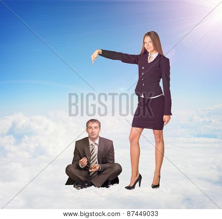 Office Girl Pointing Businessman Sitting on Clouds