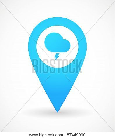 Map Mark Icon With A Storm Cloud
