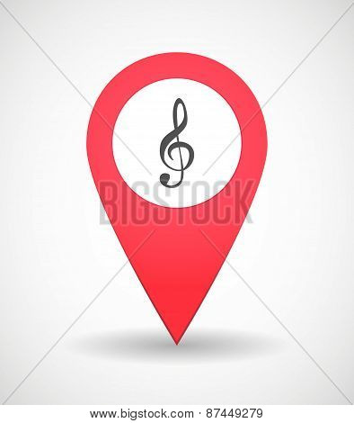 Map Mark Icon With A G Clef