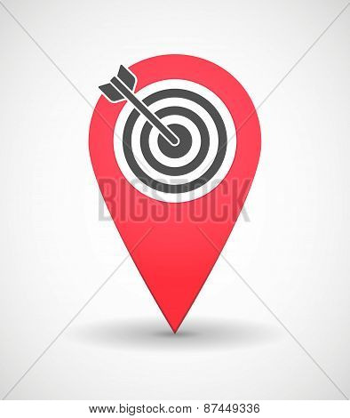 Map Mark Icon With A Dart Board