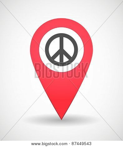 Map Mark Icon With A Peace Sign
