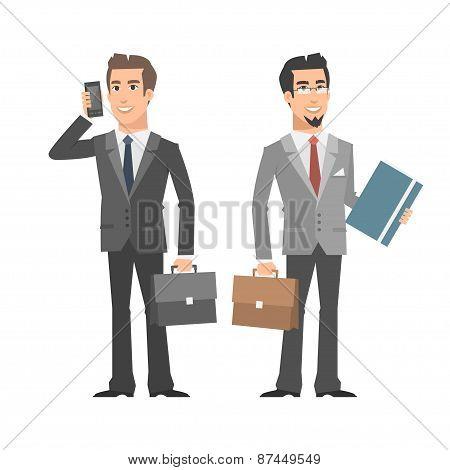 Businessman talking on phone holding folder briefcase