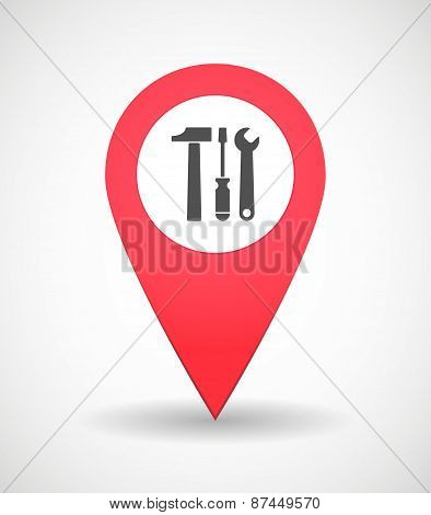 Map Mark Icon With Tools