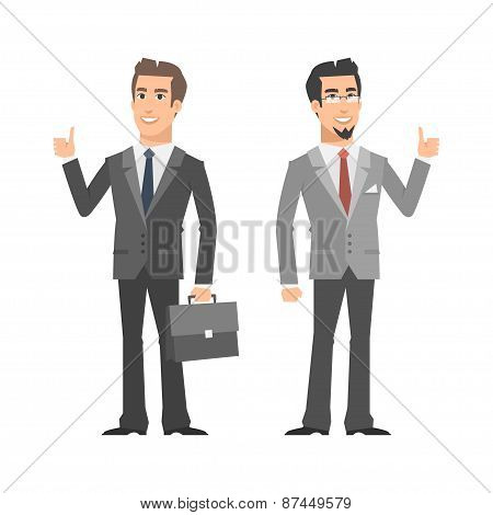 Two businessman smiling and showing thumbs up