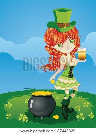 Leprechaun Girl On Grass Field