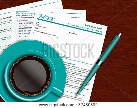 Sa100 Tax Return Form With Coffee And Pen On Wooden Table