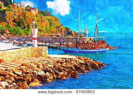 A Digitally Constructed Painting Of Kaleici Harbour In Antalya Turkey