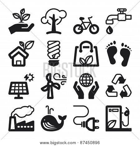 Ecology Flat Icons. Black