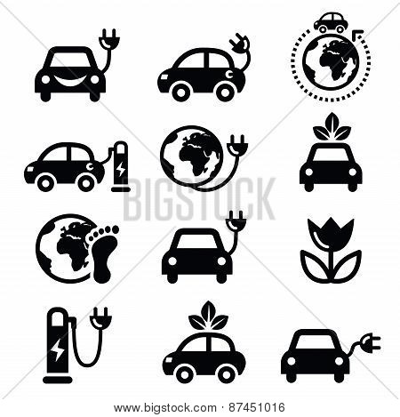 Eclectic car, green or eco transport icons set