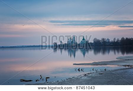 View Of Spaso-yakovlevsky Monastery From Nero's Lake In The Spring On A Sunset, Rostov