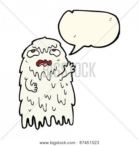 gross cartoon ghost with speech bubble
