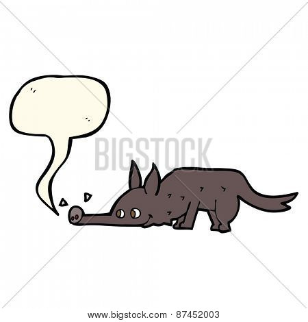 cartoon dog sniffing floor with speech bubble