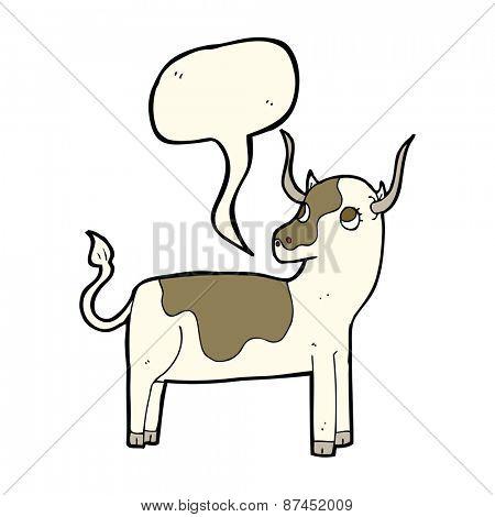 cartoon cow with speech bubble