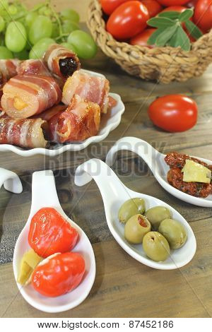 Stuffed Tapas With Fruits And Bacon
