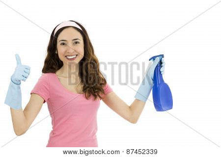 Cleaning Woman Showing Thumbs Up