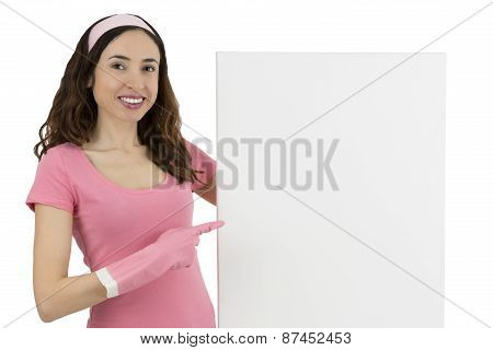 Cleaning Woman Showing A Blank Advertising Poster