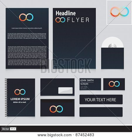 Creative Corporate Identity With Cubes And Modern Icon Infinity. Vector Idea For Your Company. Busin