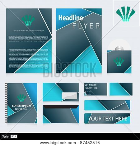 Corporate Identity With Geometric Shape And Icon. Vector Creative Idea For Business.