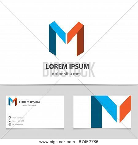 Vector Creative Icon, Letter M With A Template Business Card.