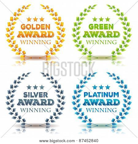 Awards Winning And Laurel Leaves Set