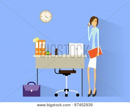 business woman cell phone call at desk in office working flat