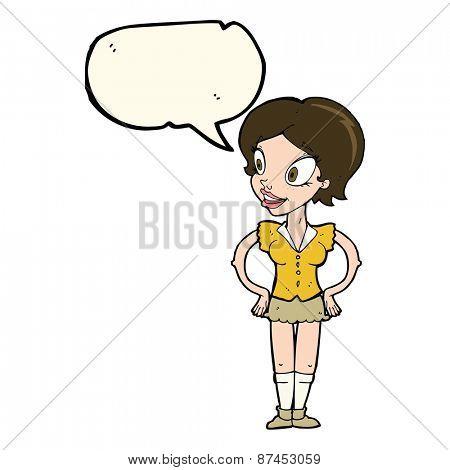 cartoon happy woman in short skirt with speech bubble