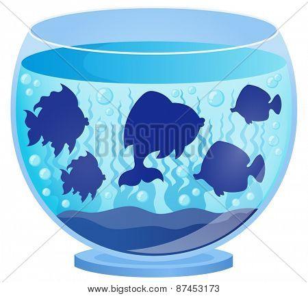 Aquarium with fish silhouettes 2 - eps10 vector illustration.