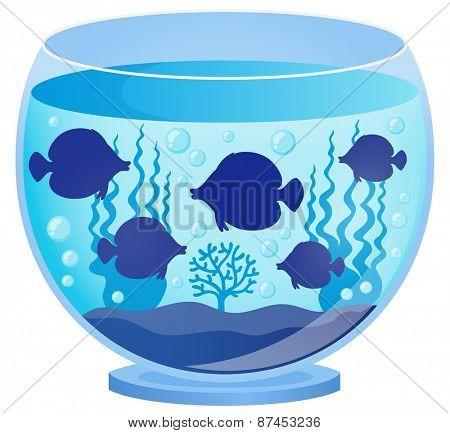 Aquarium with fish silhouettes 1 - eps10 vector illustration.
